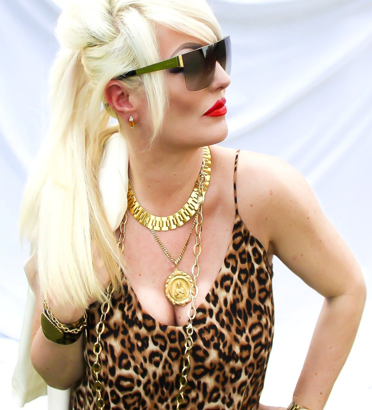 Gucci, glasses, animal print dress, white blonde, Chanel lip color, in Arthur, gold, bling, Stephanie dAwn Sjoberg, Top Houston fashion