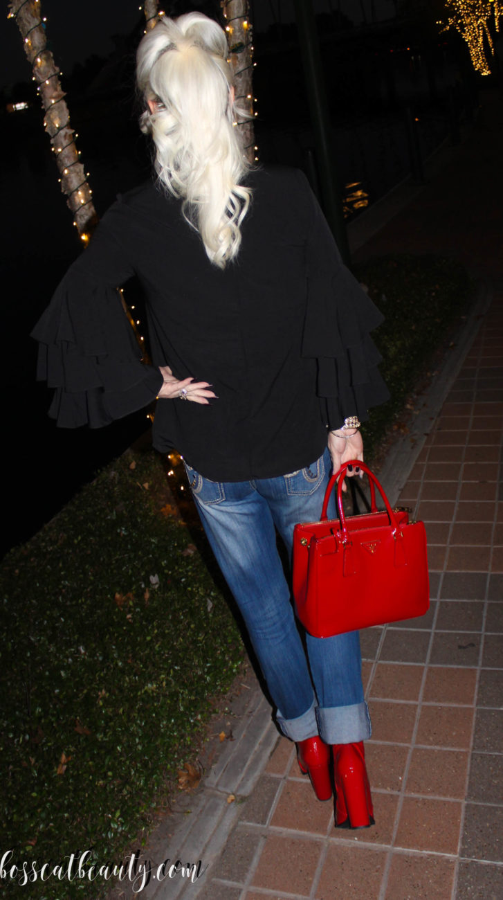prada bag, Forever 21 boots, red booties, Luxor Living and Style, Bosscat, Houston blogs, Top bloggers, fashion blog, stylist, denim jeans, Colleen Cordero belt, red Prada bag, red bag, red boots,