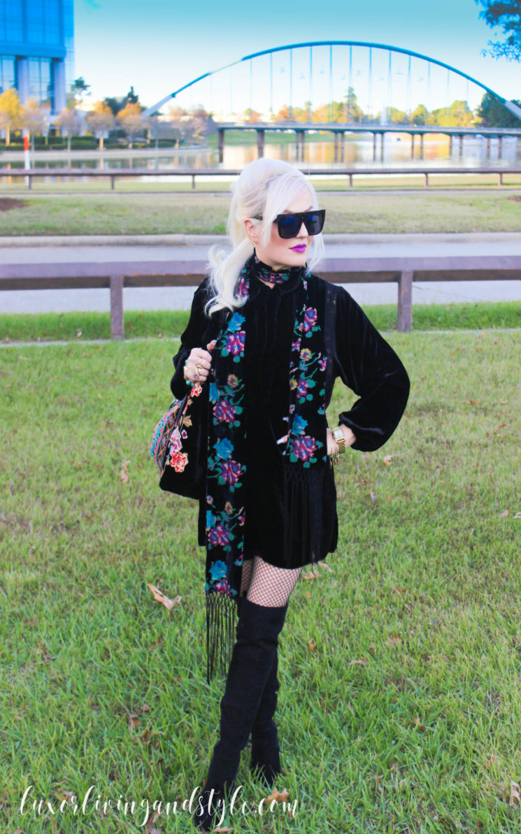Quay Sunglasses, Johnny Was Black Velvet bag, scarf, tunic, Michael Kors watch, David Yurman ring. alex and Ani bracelets, Luxor Living and Style, Houston, blog, bloggers in Texas, over 40, knee high boots, Johnny Was The Woodlands