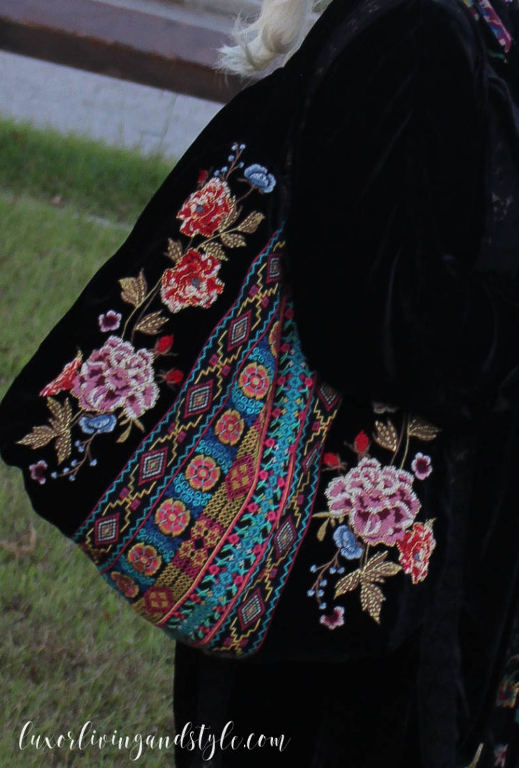 Johnny Was velvet bag, velvet purse, embroidery, Luxor Living and Style, Johnny Was The Woodlands,