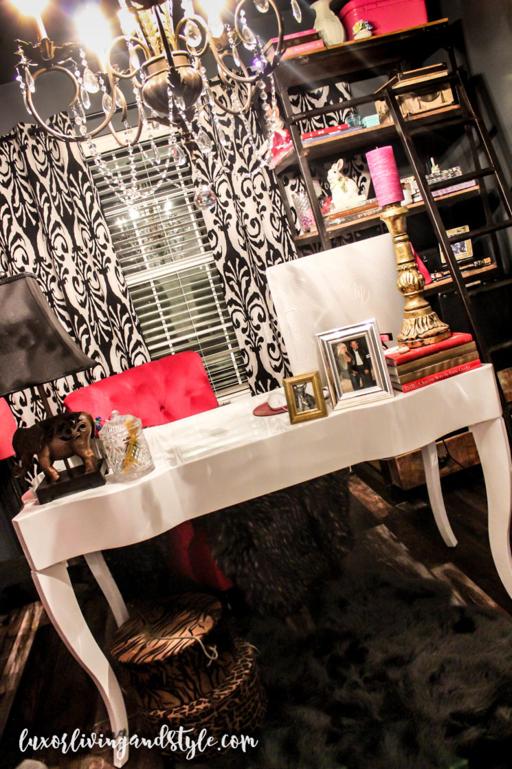 home office, glam home office, gold mirror, vintage furniture, pink white and gray decor, girlboss, Bosscat Beauty, Luxor Living and Style, blogger office, pink accents, style, home decor, home style, interior, charcoal gray paint, wood laminate flooring, gold pink and white office, Z'Gallerie desk, Sasha desk, white desk, blogger office, World Market curtains,