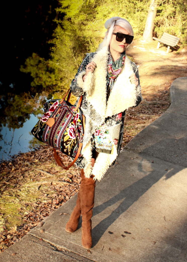 Luxor Living and Style, Houston blog, Weekend bag, embroidery, sherpa coat, David Yurman, ootd, winter style, Quay Austrailia, sunglasses by Quay, knee high boots, camel boots, over 40, The Woodlands, style blog, scarf, silk scarf,