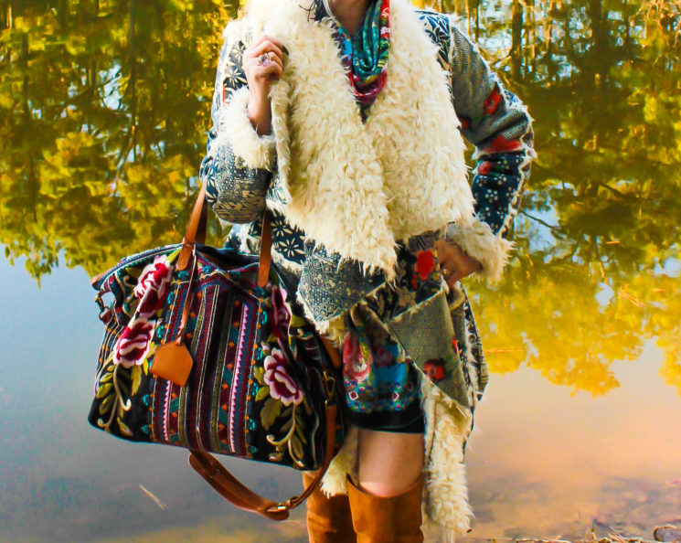 Luxor Living and Style, Houston blog, Weekend bag, embroidery, sherpa coat, David Yurman, ootd, winter style,